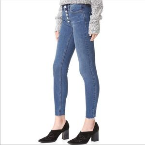 Free People High Rise Button Fly Skinny Jeans